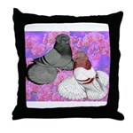 Trumpeter Pigeons and Flowers Throw Pillow