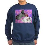 Trumpeter Pigeons and Flowers Sweatshirt (dark)