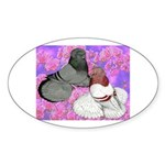 Trumpeter Pigeons and Flowers Oval Sticker