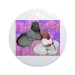 Trumpeter Pigeons and Flowers Ornament (Round)