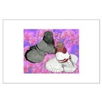 Trumpeter Pigeons and Flowers Large Poster
