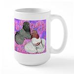 Trumpeter Pigeons and Flowers Large Mug