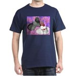 Trumpeter Pigeons and Flowers Dark T-Shirt