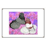 Trumpeter Pigeons and Flowers Banner