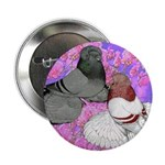 """Trumpeter Pigeons and Flowers 2.25"""" Button (1"""