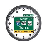 Tulsa, OK Highway Sign Wall Clock