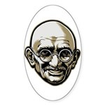 Mahatma Gandhi Oval Sticker (10 pk)