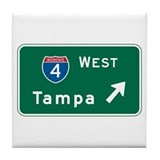 Tampa, FL Highway Sign Tile Coaster