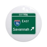 Savannah, GA Highway Sign Ornament (Round)