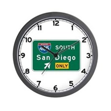 San Diego, CA Highway Sign Wall Clock
