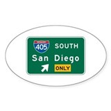 San Diego, CA Highway Sign Oval Bumper Stickers