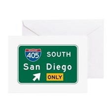 San Diego, CA Highway Sign Greeting Cards (Pk of 1