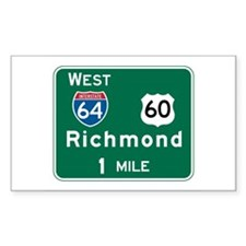 Richmond, VA Highway Sign Rectangle Sticker 10 pk