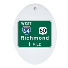 Richmond, VA Highway Sign Oval Ornament