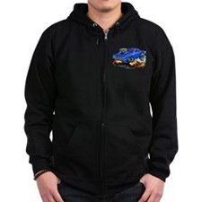 Plymouth Cuda Blue Car Zip Hoodie