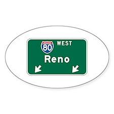 Reno, NV Highway Sign Oval Sticker (10 pk)