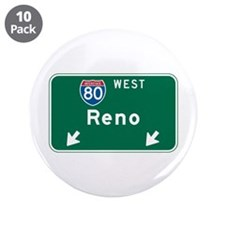 "Reno, NV Highway Sign 3.5"" Button (10 pack)"
