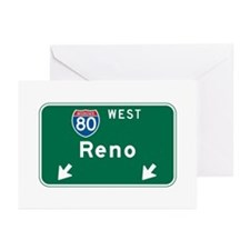 Reno, NV Highway Sign Greeting Cards (Pk of 10)