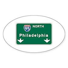 Philadelphia, PA Highway Sign Oval Sticker (10 pk)