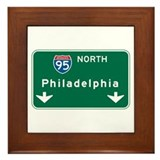 Philadelphia, PA Highway Sign Framed Tile