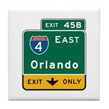 Orlando, FL Highway Sign Tile Coaster