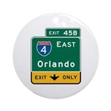 Orlando, FL Highway Sign Ornament (Round)