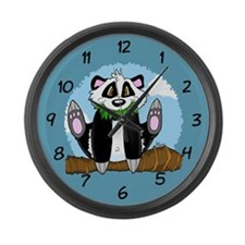 Jumping Panda Bear Large Wall Clock