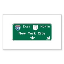 New York, NY Highway Sign Rectangle Sticker 50 pk
