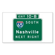 Nashville, TN Highway Sign Rectangle Sticker 10 p