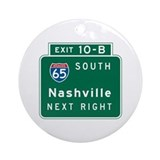 Nashville, TN Highway Sign Ornament (Round)