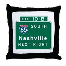 Nashville, TN Highway Sign Throw Pillow