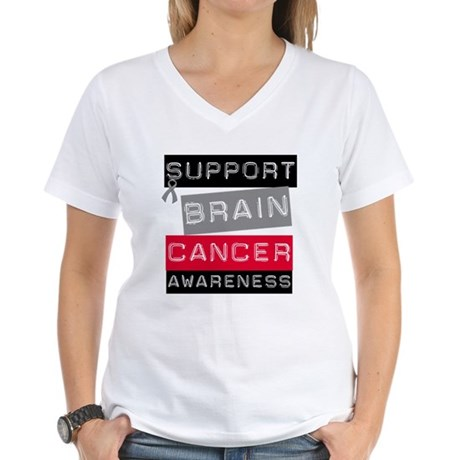 BrainCancerSupport Women's V-Neck T-Shirt