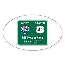 Milwaukee, WI Highway Sign Oval Sticker (50 pk)