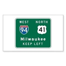 Milwaukee, WI Highway Sign Rectangle Sticker 10 p