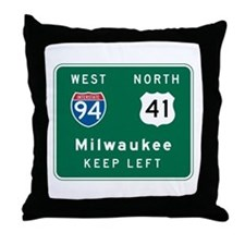 Milwaukee, WI Highway Sign Throw Pillow