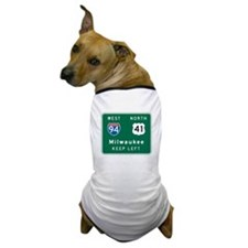 Milwaukee, WI Highway Sign Dog T-Shirt