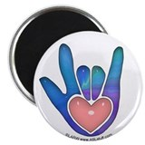Blue/Pink Glass ILY Hand 2.25&quot; Magnet (100 pack)