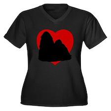 Shih Tzu Valentine's Day Women's Plus Size V-Neck