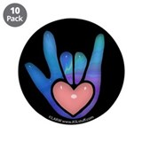"Blue/Pink Glass ILY Hand Black 3.5"" Button (10 pac"