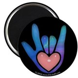 "Blue/Pink Glass ILY Hand Black 2.25"" Magnet (100 p"