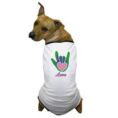 Green/Pink Love Hand Dog T-Shirt