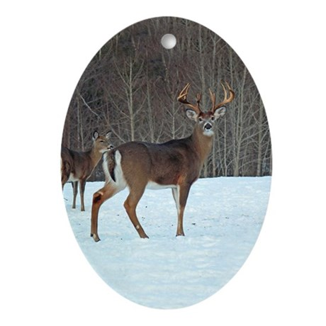 Buck & Doe Oval Ornament