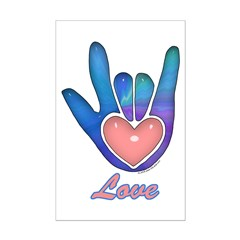 Blue Glass Love Hand Mini Poster Print