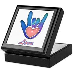 Blue Glass Love Hand Keepsake Box