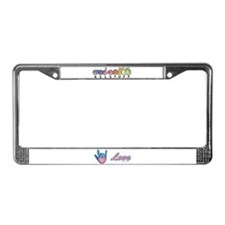 Blue Glass Love Hand License Plate Frame