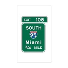 Miami, FL Highway Sign Rectangle Decal