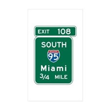 Miami, FL Highway Sign Rectangle Sticker 10 pk)