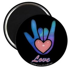 Blue Glass Love Hand Black Magnet