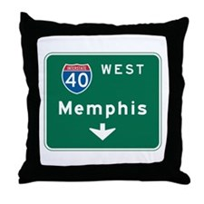 Memphis, TN Highway Sign Throw Pillow