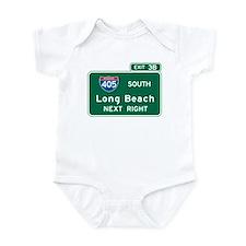 Long Beach, CA Highway Sign Infant Bodysuit
